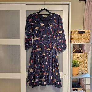 Blue Floral Faux Wrap Dress